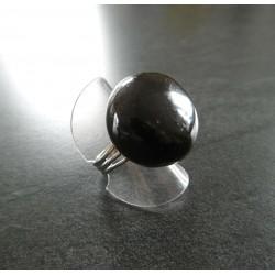bague ronde boule noir
