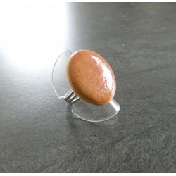 bague ronde plate marron...
