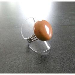 bague ronde boule marron...